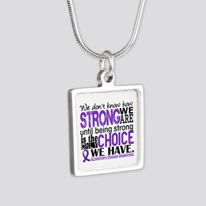 Alzheimer's HowStrongWeAre Silver Square Necklace