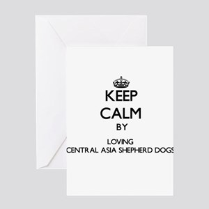 Keep calm by loving Central Asia Sh Greeting Cards