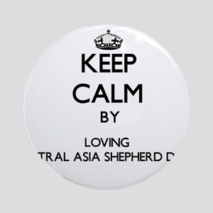 Keep calm by loving Central Asia Ornament (Round)