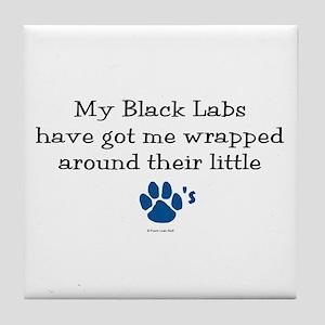 Wrapped Around Their Paws (Black Lab) Tile Coaster