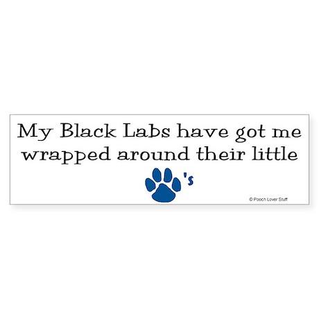 Wrapped Around Their Paws (Black Lab) Sticker (Bum