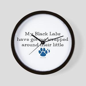 Wrapped Around Their Paws (Black Lab) Wall Clock