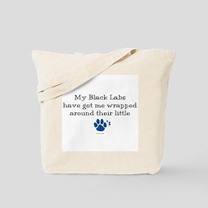 Wrapped Around Their Paws (Black Lab) Tote Bag