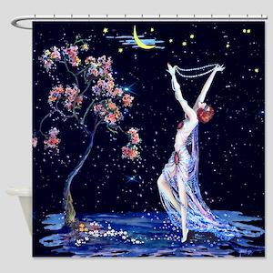 Tsanya Starlight Dancer, Art Deco Shower Curtain