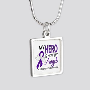 Alzheimers Hero Now My Ang Silver Square Necklace