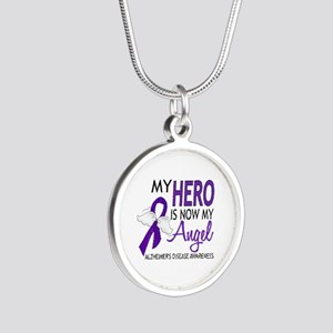 Alzheimers Hero Now My Angel Silver Round Necklace