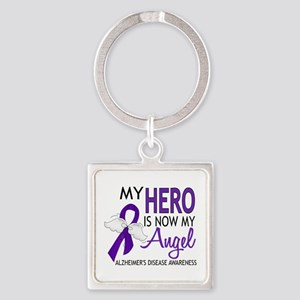 Alzheimers Hero Now My Angel Square Keychain