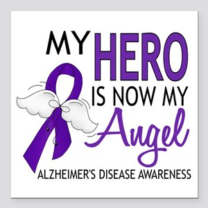 """Alzheimers Hero Now My A Square Car Magnet 3"""" x 3"""""""
