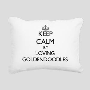 Keep calm by loving Gold Rectangular Canvas Pillow