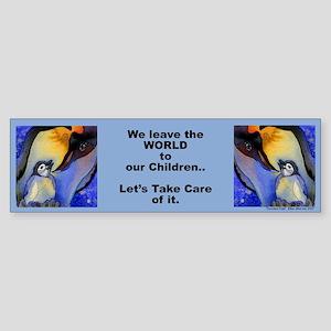 """Devoted Dad Penguin """"We leave.."""" Bumper Sticker"""