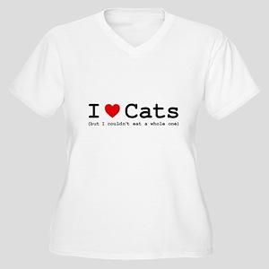 I Love Cats - But Women's Plus Size V-Neck T-Shirt