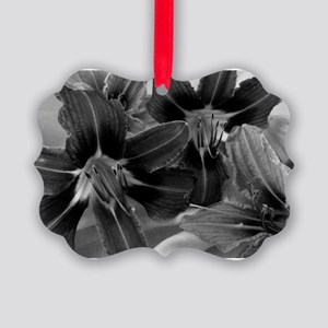 daylily bw Picture Ornament
