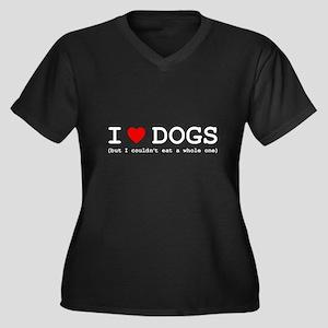 I Love Dogs Women's Plus Size V-Neck Dark T-Shirt