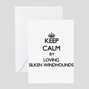 Keep calm by loving Silken Windhoun Greeting Cards