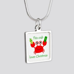 Christmas Crab Silver Square Necklace