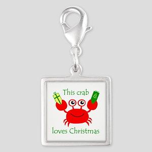 Christmas Crab Silver Square Charm