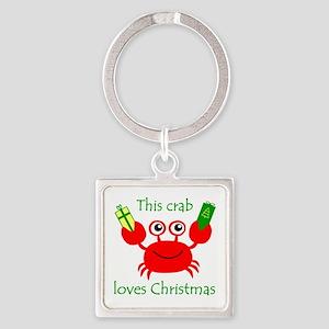 Christmas Crab Square Keychain