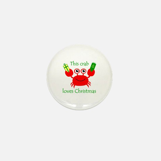 Christmas Crab Mini Button