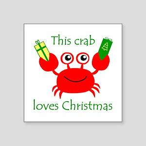 "Christmas Crab Square Sticker 3"" x 3"""