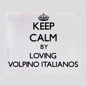 Keep calm by loving Volpino Italiano Throw Blanket