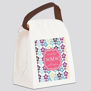 Pink Chic Floral Print Monogram Canvas Lunch Bag