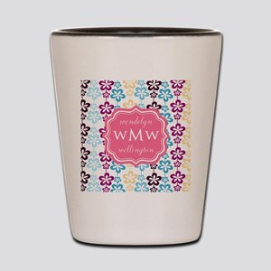 Pink Chic Floral Print Monogram Shot Glass
