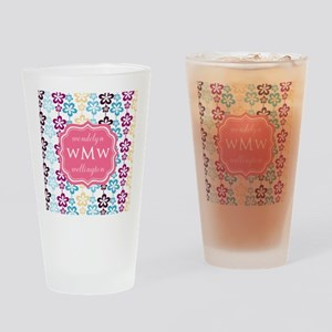 Pink Chic Floral Print Monogram Drinking Glass