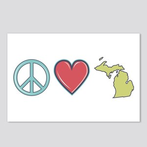 Peace Love Michigan Postcards (Package of 8)