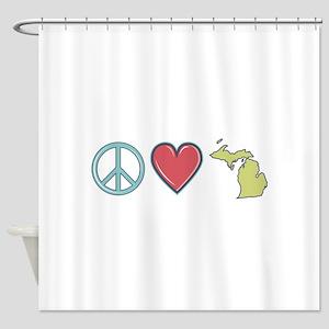 Peace Love Michigan Shower Curtain
