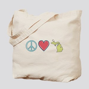 Peace Love Michigan Tote Bag