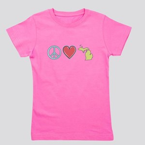 Peace Love Michigan Girl's Tee