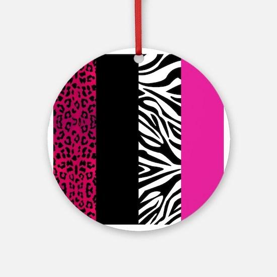 Hot Pink Leopard and Zebra Animal Print Ornament (