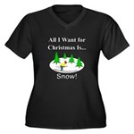Christmas Sn Women's Plus Size V-Neck Dark T-Shirt