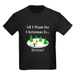 Christmas Snow Kids Dark T-Shirt