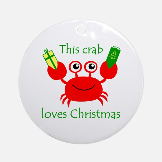 Christmas Crab Round Ornament