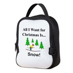 Christmas Snow Neoprene Lunch Bag