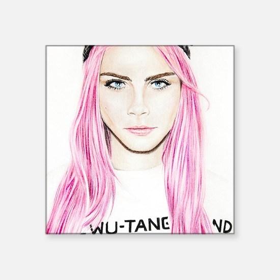 "Pink Cara Square Sticker 3"" x 3"""