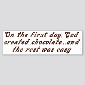 God created chocolate - Sticker (Bumper)
