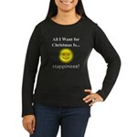 Christmas Happine Women's Long Sleeve Dark T-Shirt