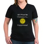Christmas Happiness Women's V-Neck Dark T-Shirt