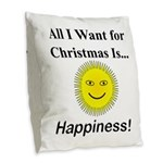 Christmas Happiness Burlap Throw Pillow