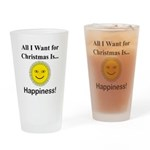 Christmas Happiness Drinking Glass