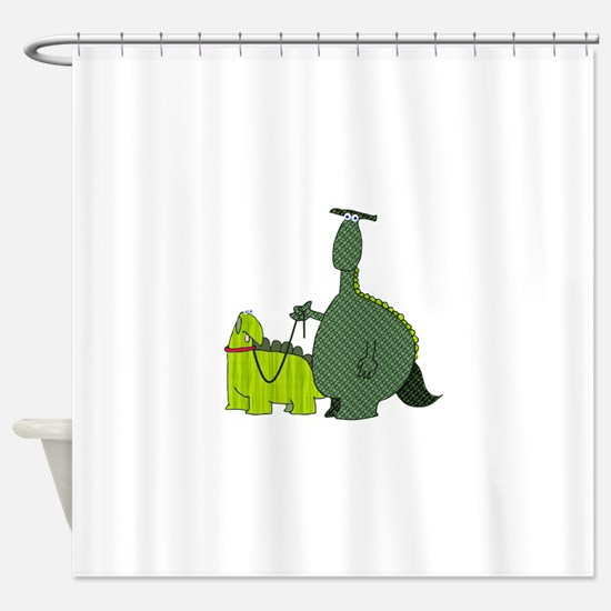 Dinosaur Walking his Dog Shower Curtain
