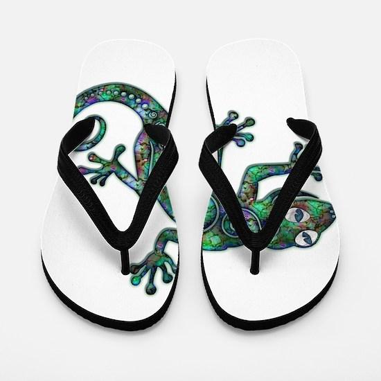 Decorative Chameleon Flip Flops