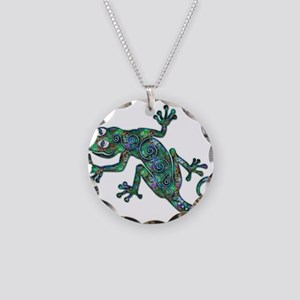 Decorative Chameleon Necklace Circle Charm