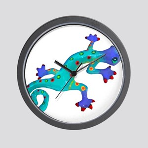 Turquoise Lizard with Red Toes Wall Clock