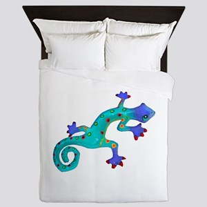 Turquoise Lizard with Red Toes Queen Duvet