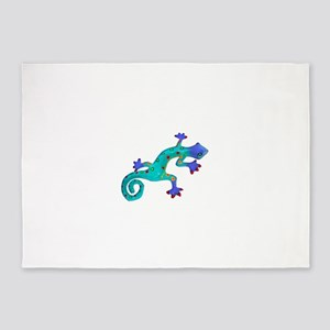 Turquoise Lizard with Red Toes 5'x7'Area Rug
