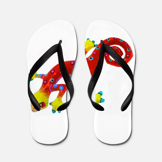 Crazy Colorful Red Lizard with Spots Flip Flops