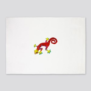 Crazy Colorful Red Lizard with Spo 5'x7'Area Rug